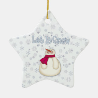 Let It Snow Snowman Star Ornament