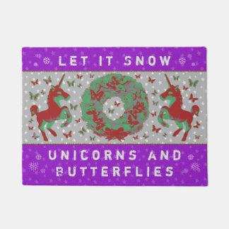 """""""Let it Snow Unicorns & Butterflies"""" Doormat (BP)"""