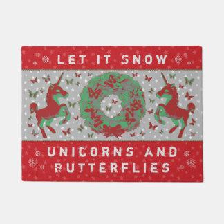 """""""Let it Snow Unicorns & Butterflies"""" Doormat (BR)"""