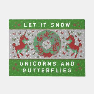 """""""Let it Snow Unicorns & Butterflies"""" Doormat (Gr)"""