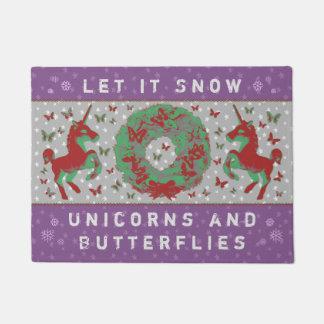 """""""Let it Snow Unicorns & Butterflies"""" Doormat (Mv)"""