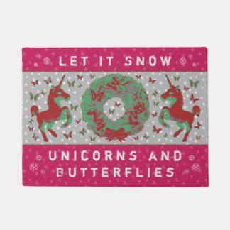 """""""Let it Snow Unicorns & Butterflies"""" Doormat (Pn)"""