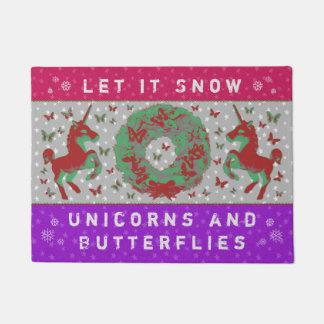 """""""Let it Snow Unicorns & Butterflies"""" Doormat (PP)"""