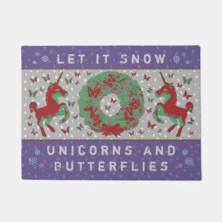 """""""Let it Snow Unicorns & Butterflies"""" Doormat (Pr)"""