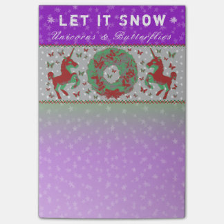 """Let it Snow Unicorns & Butterflies"" Post-Its (Br) Post-it Notes"