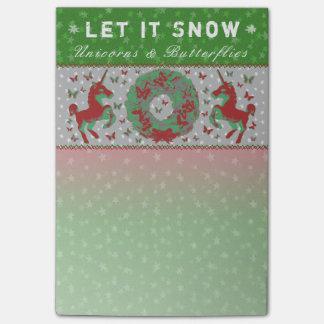 """""""Let it Snow Unicorns & Butterflies"""" Post-Its (Gr) Post-it Notes"""