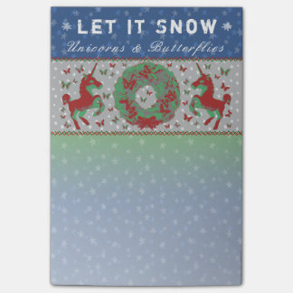 """Let it Snow Unicorns & Butterflies"" Post-Its (NB) Post-it Notes"