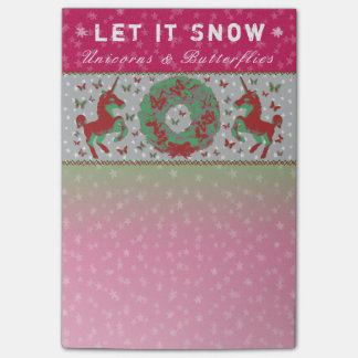 """Let it Snow Unicorns & Butterflies"" Post-Its (Pi) Post-it Notes"