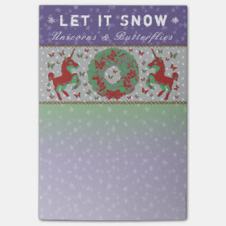 """Let it Snow Unicorns & Butterflies"" Post-Its (Pu) Post-it Notes"