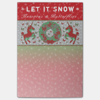 """Let it Snow Unicorns & Butterflies"" Post-Its (Rd) Post-it Notes"