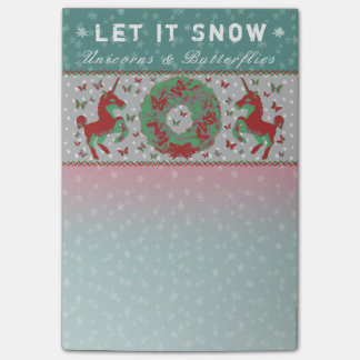"""Let it Snow Unicorns & Butterflies"" Post-Its (Tl) Post-it Notes"