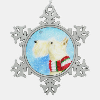 Let It Snow Wheaten Scottie Snowflake Pewter Christmas Ornament