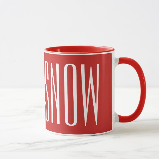 LET IT SNOW - white on red Mug