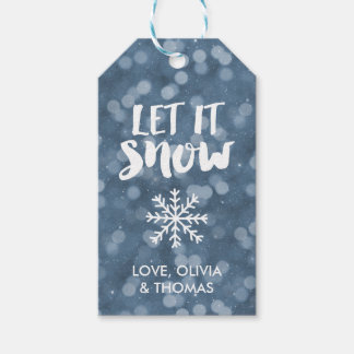 Let It Snow | Winter Night Bokeh Gift Tags