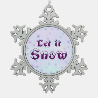 Let it Snow! Winter Sky Snowflakes Polka Dots Pewter Snowflake Decoration