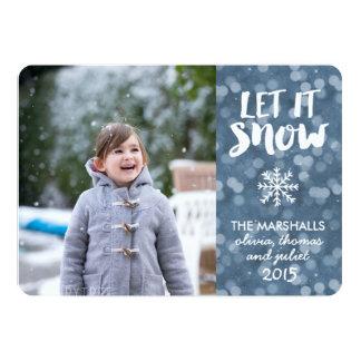 Let It Snow Wintry Blue Bokeh Photo Card