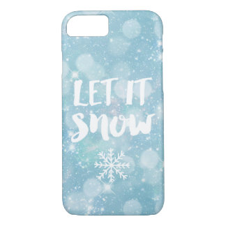 Let It Snow | Wintry Pale Blue Crystal Bokeh iPhone 7 Case