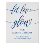 Let Love Glow Wedding Sign Navy Blue Calligraphy