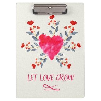 Let Love Grow Romantic Watercolor Heart Clipboard