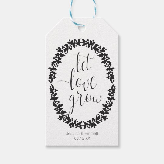 Let Love Grow Wreath Favour Tag