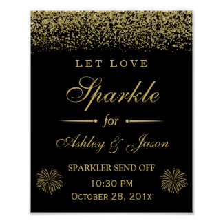 Let Love Sparkle Gold Glitter Wedding Sign Poster