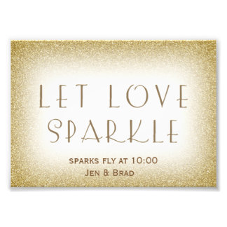 Let love sparkle - gold sparkler send off photo