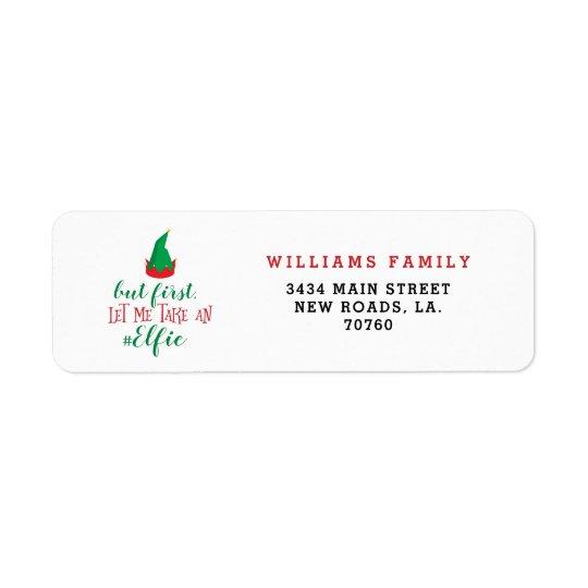 Let Me Take An Elfie Christmas Return Address Label