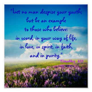 Let No Man Despise Your Youth (Tim 4:12) Purity Poster