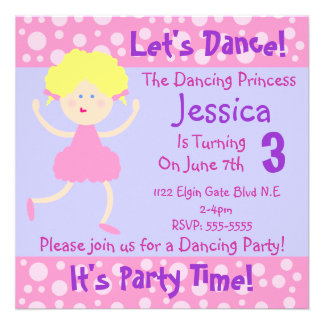 Let s Dance It s Party Time Kids Birthday Party Personalized Invitations