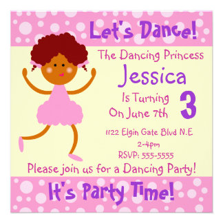 Let s Dance It s Party Time Kids Birthday Party Personalized Announcements