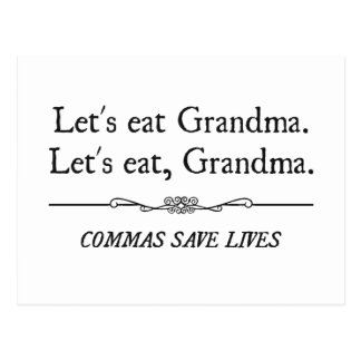 Let s Eat Grandma Commas Save Lives Postcards