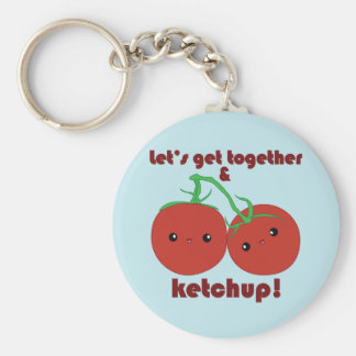 Let's Get Together and Ketchup! Kawaii Tomatoes Basic Round Button Key Ring