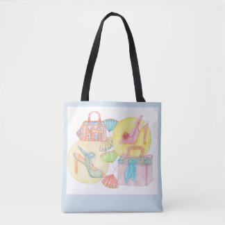 Let´s go shopping - tote bag in light blue