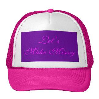 """Let 's Make Merry"" Purple/Pink Xmas Design Cap"