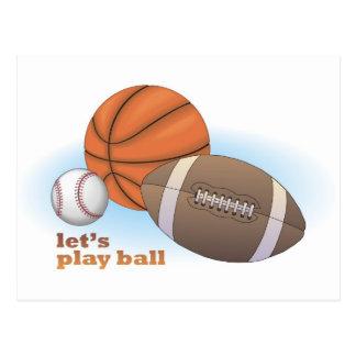 Let s play ball baseball basketball football post card