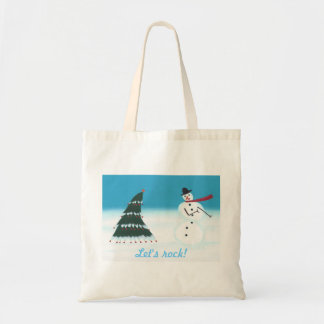 Let s rock Christmas tree Snow man canvas bags