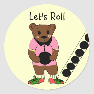 Let s Roll - Bowling Round Sticker