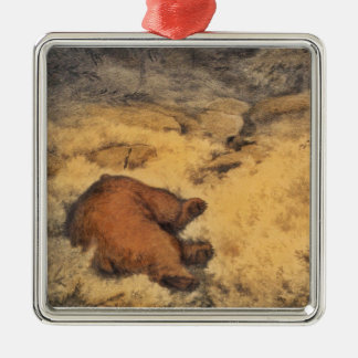 """Let Sleeping Bears Lie"" Silver-Colored Square Decoration"