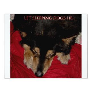 LET SLEEPING DOGS LIE 11 CM X 14 CM INVITATION CARD