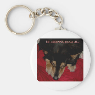 LET SLEEPING DOGS LIE BASIC ROUND BUTTON KEY RING