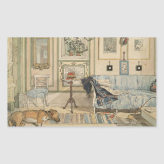 Let Sleeping Dogs Lie Swedish Watercolor Rectangle Sticker