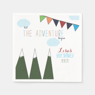Let the Adventure Begin Baby Shower Disposable Napkins