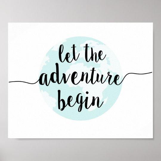 Let the Adventure Begin Big World Quote Art