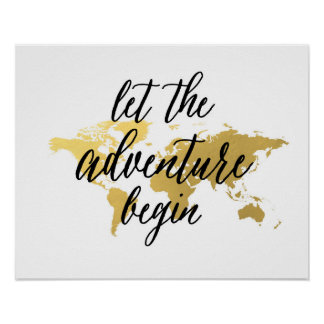 Let the adventure begin quote | gold world map poster