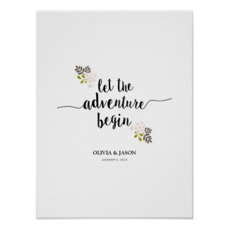 Let the Adventure Begin Wedding Reception Print