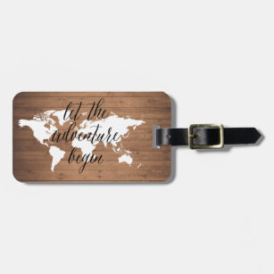 World map gifts gift ideas zazzle uk let the adventure begin wood world map luggage tag gumiabroncs Image collections