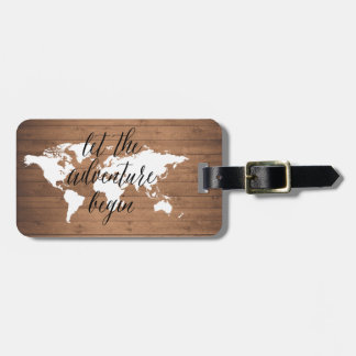 Let the adventure begin wood World map Luggage Tag