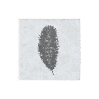 Let the Beauty Feather Stone Magnet