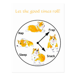Let the Good Times Roll! Corgi Postcard