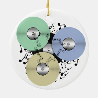 Let the Music Flow (Reel to Reel & Vinyl Record) Double-Sided Ceramic Round Christmas Ornament